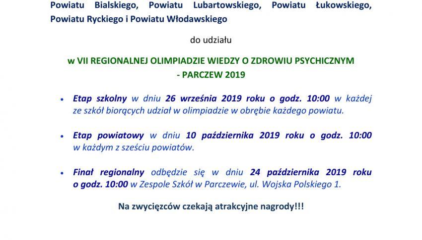 VII REGIONALNA OLIMPIADA WIEDZY O ZDROWIU PSYCHICZNYM -PARCZEW 2019